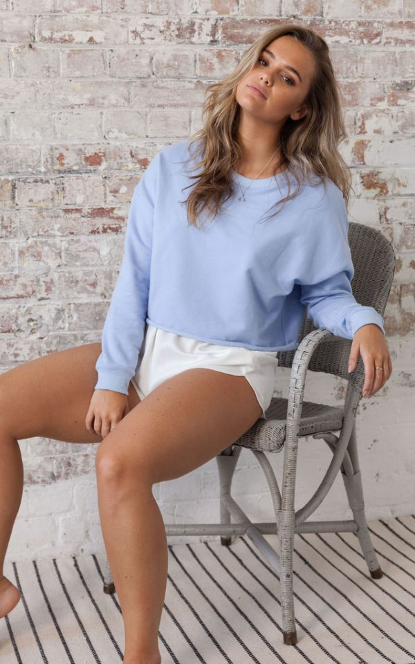 Basics Crop Blue Jumper Sweatshirt