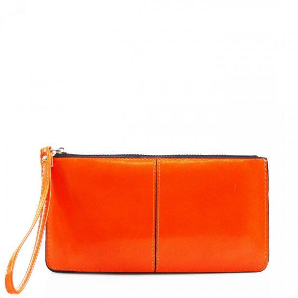 Evie Neon Orange Wristlet Clutch