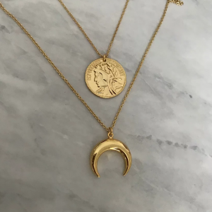 Gold Plated Coin Horn Layered Necklaces