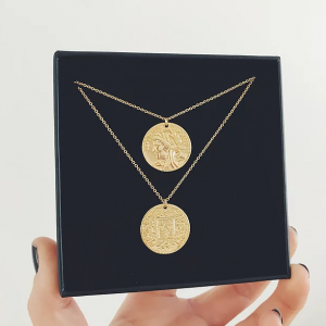 Gold Plated Coin Layered Necklaces
