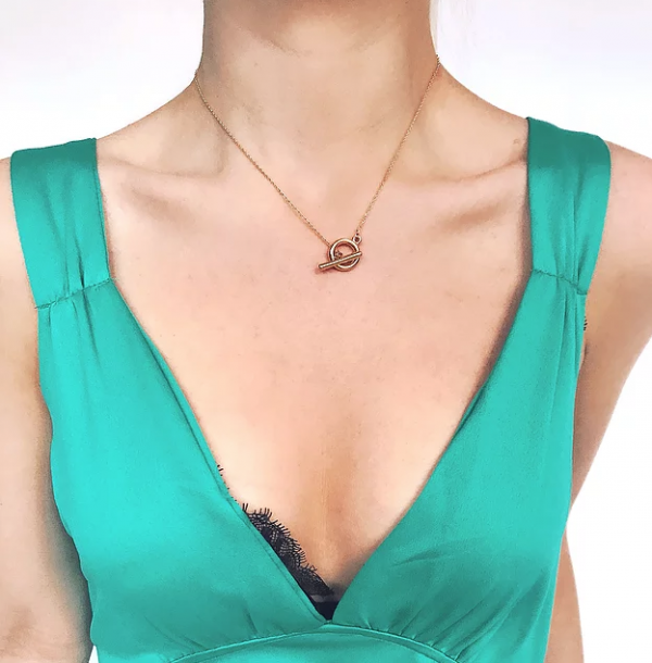 Gold Plated T Bar Connect Necklace