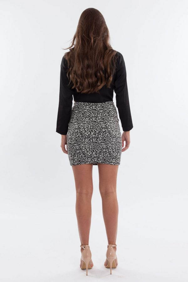 Snow Leopard Mini Skirt Fitted
