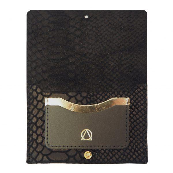 python effect leather passport holder