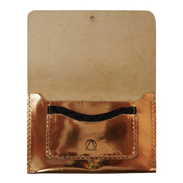 rose gold leather passport holder