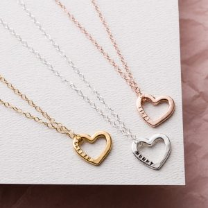 small heart necklace group