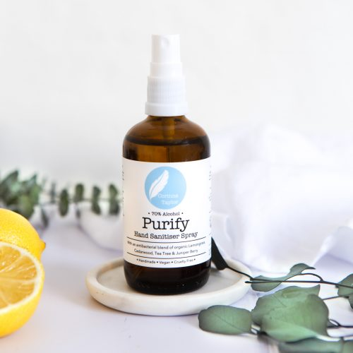 Purify 70% Alcohol Antibacterial Hand Sanitiser with Tea Tree, Lemon & Lemongrass essential oils. 100% natural, vegan, cruelty free, organic.