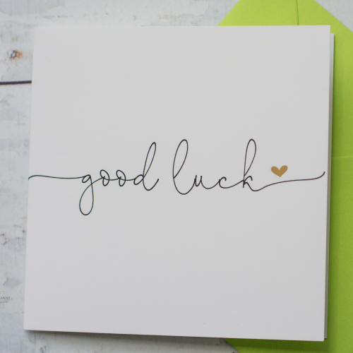 good luck card - modern typography - gold foil heart detail