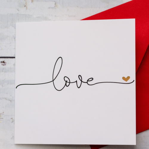 Love Card - Modern Typography with Gold foil Detail
