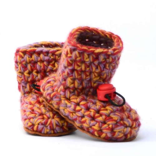 Aina Pink Wool Baby Booties_with toggle_Kingdom of Wow!