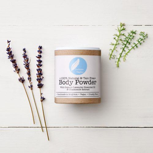 100% natural Talc free body powder with organic essential oils. vegan & cruelty free.