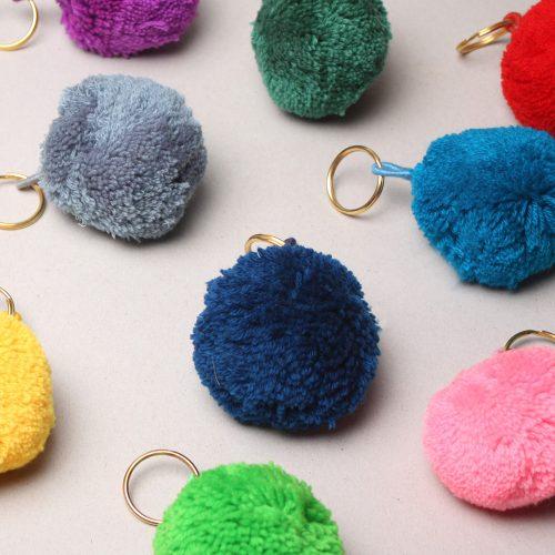 Pom Pom Basic Keyrings, Assorted Colours (Pack of 12)