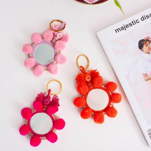 Super Pom Pom Mirror Keyrings, Mini, Assorted Colours (Pack of 8)