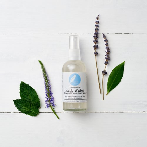Herb Water botanical face & body mist with peppermint, lavender and clary sage. 100% natural, vegan, cruelty free & organic.