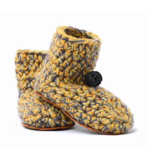 Sand Yellow Wool Baby Booties_with toggle_Kingdom of Wow!