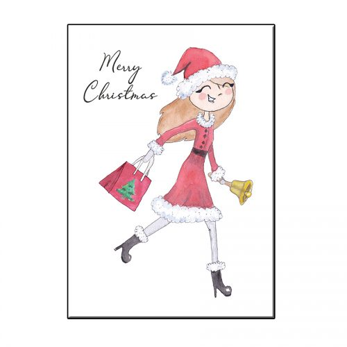 A6 SANTA GIRL WITH BELL CHRISTMAS GREETING CARD
