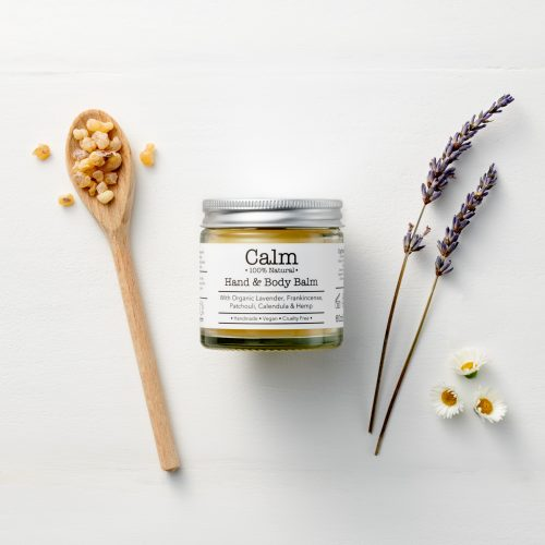 Calm Hand & Body Balm by Corinne Taylor with Lavender, Patchouli & Frankincense. Vegan, cruelty free, organic, 100% natural, relaxing.