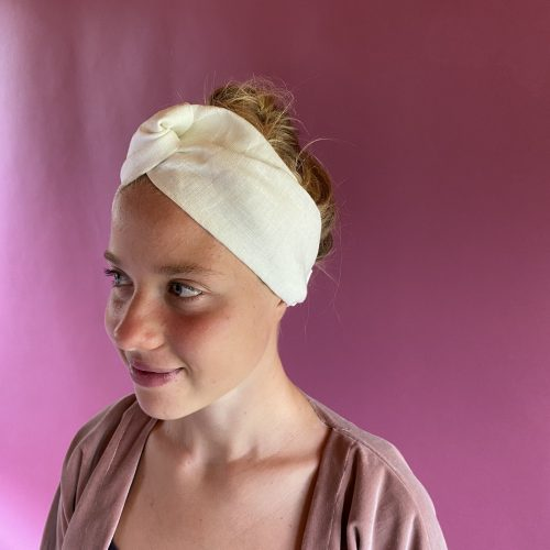 White linen headband