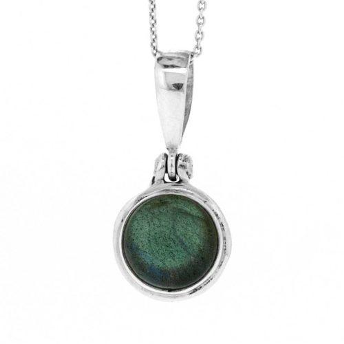 labradorite round pendant on chain