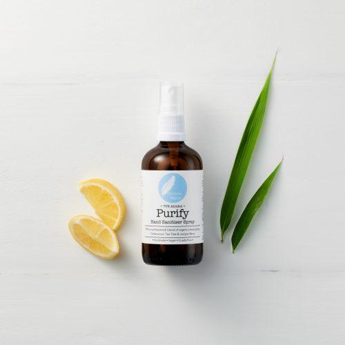 Purify 70% Alcohol Antibacterial Hand Sanitiser with Tea Tree, Lemon & Lemongrass essential oils. 100% natural, vegan, cruelty free, organic.