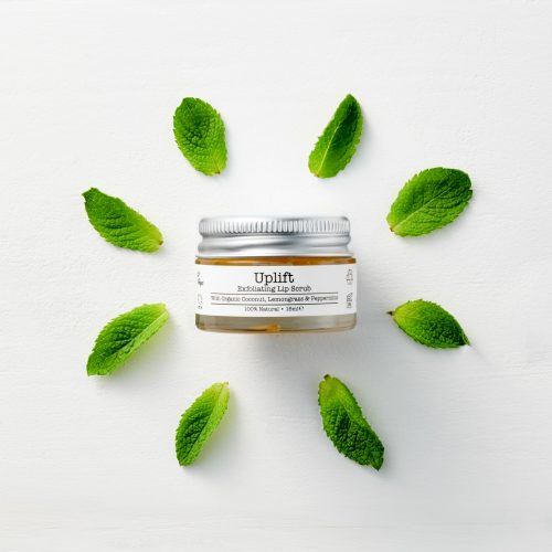 Uplift organic vegan 100% natural zero waste cruelty free lip scrub with peppermint and tangerine