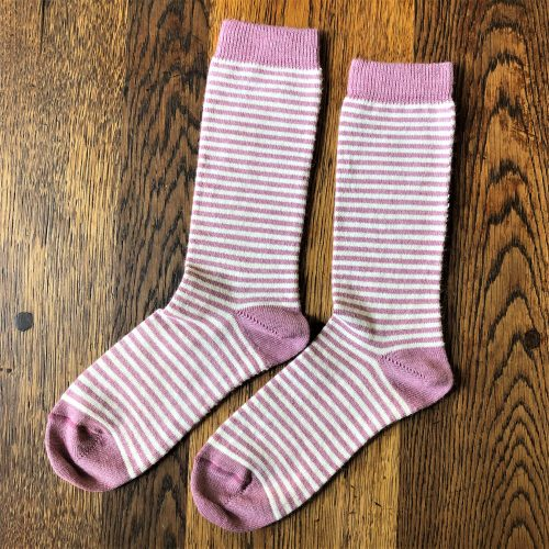 Pale Pink Stripy Alpaca Socks
