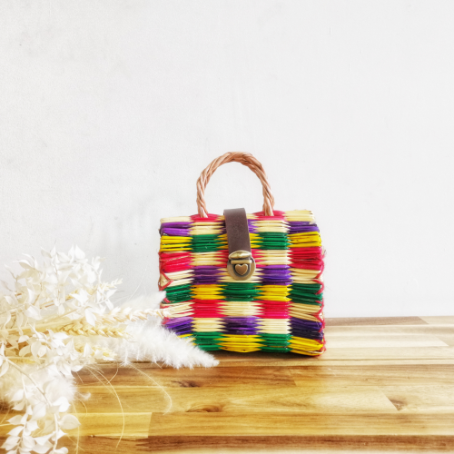 Handmade Rainbow Reed Bag Mini