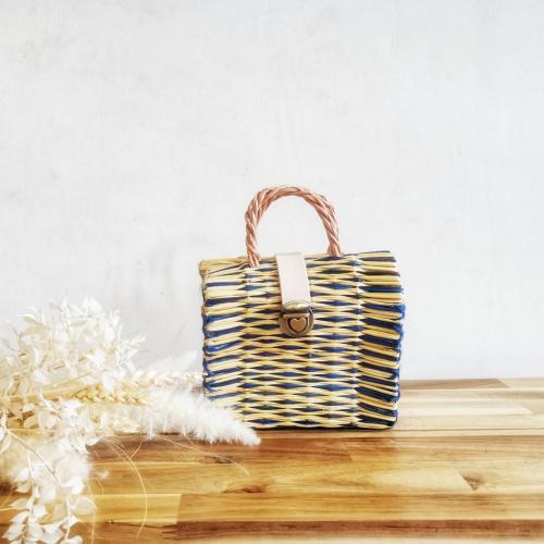Handmade Reed Bag Blue Mini