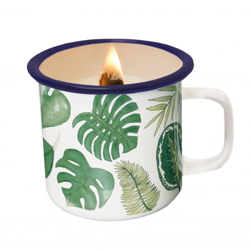 candle in a cup leafs