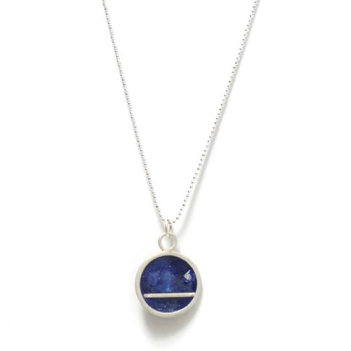 Resin collection midnight blue necklace with silver leaf Design Vaults