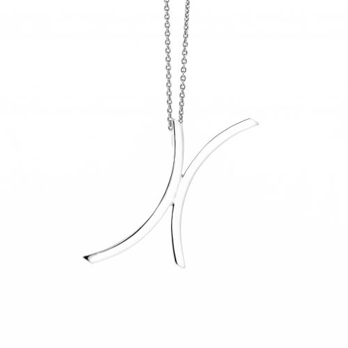 This pendant features two concave pieces of silver next to each other creating this versatile pendant.